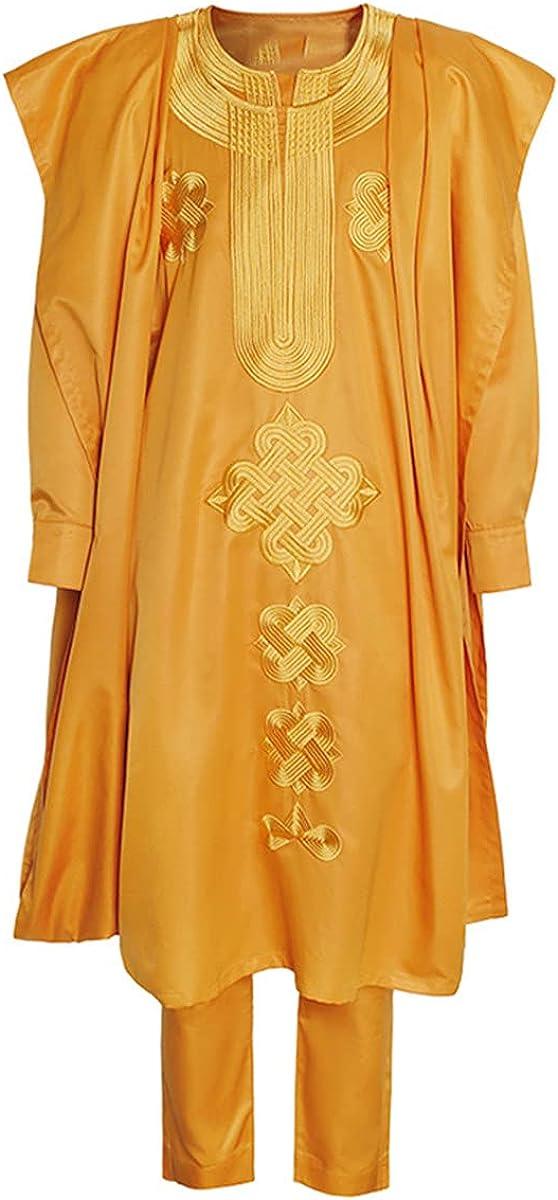African Men's Clothing Agbada Suit Kaftan Men's Long-Sleeved Shirt Ankara Pants Cloth 3-Piece Set