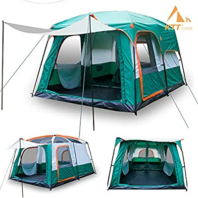 KTT Large Family Cabin Tents for Camping,10 Person,Waterproof,2 Rooms,Double Layer,3 Doors and 3 Window with Mesh,Big Tent for Outdoor,Picnic,Camping,Family,Friends Gathering.