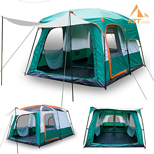 KTT Large Family Cabin Tents for Camping10 Person Waterproof,2 Rooms,210D Polyester,Double Layer,Windproof,4 Large Mesh Windows,Big Tent for Outdoor,Picnic,Camping, Family, Friends Gathering.