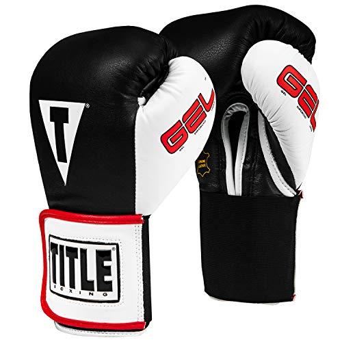 Title Gel World Elastic Training Gloves, Black/White, 16 oz