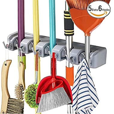 Mop Broom Holder Wall Mounted Kitchen Hanging Garage Utility Tool Organizers and Storage Rack For Commercial Bathroom Laundry Room Closet Gardening