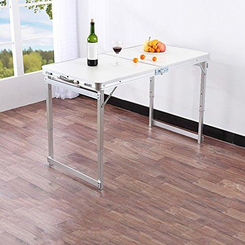 Table HAIZHEN - Poste de Travail d'ordinateur - Carré Pliable - Multifonction - Tube carré d'extérieur 60 x 120 cm