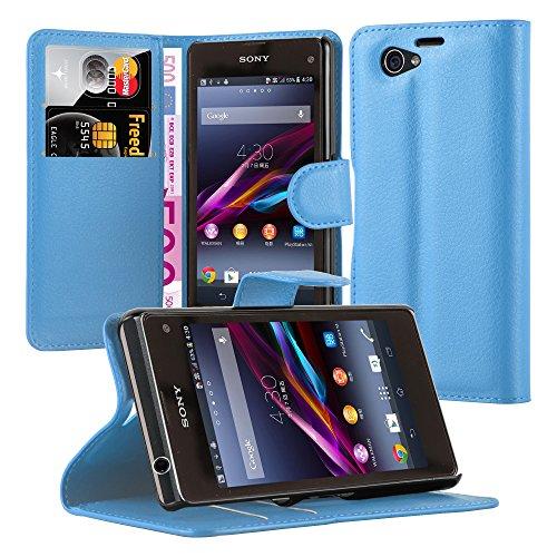 Cadorabo Hülle für Sony Xperia Z1 Compact in Pastel BLAU - Handyhülle mit Magnetverschluss, Standfunktion & Kartenfach - Hülle Cover Schutzhülle Etui Tasche Book Klapp Style
