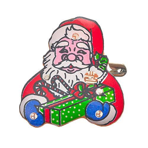Godagoda Unisex broche Creative Persoonlijke cartoon kerstman patroon oplichtend design clip sieradennaald hanger spelden voor sjaals mantel poncho's