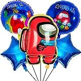 Decoracion de Among Us -Miotlsy 6pcs cumpleaños Accesorios para fiestas de cumpleaños para niños con globos para decoraciones Anime Theme Cumpleaños Dcoration