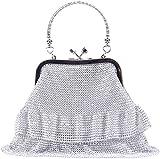 MMYOMI Damen Silber Sparkly Diamante Crystal Satin Handtasche Abend Hochzeit Handtasche Handtasche...