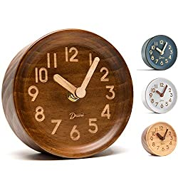 Driini Wooden Desk & Table Analog Clock Made of Genuine Pine (Dark) - Battery Operated with Precise Silent Sweep Mechanism - Cute, Small Decorative Clocks for Your Bedroom Shelf or Office Desktop