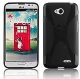 Cadorabo DE-101068 Mobile Phone Case for LG L70 Flexible TPU Silicone X-Line Design Black