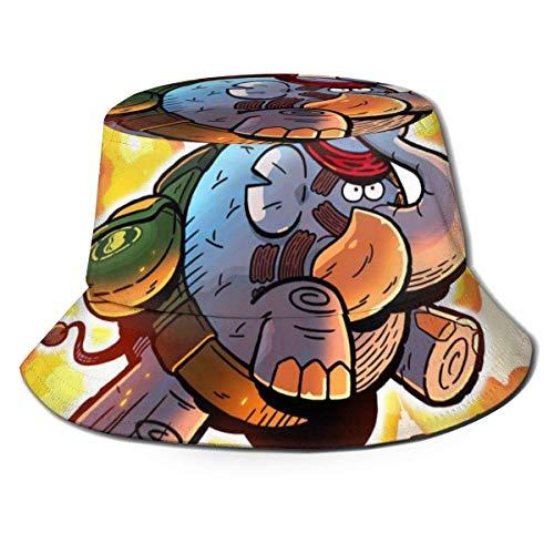 SDFRG Fischerhut Tembo Der Badass Elephant Polyester Twill Stoff, volle Persönlichkeit, Mode, süß und beängstigend gedruckt Fischerhut.