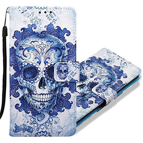MRSTER Funda para Huawei P Smart+, 3D Moda Carcasa Libro Flip Case Antigolpes Cartera PU Cuero Funda con Función de Soporte para Huawei P Smart Plus/Nova 3i. YB Blue Skull