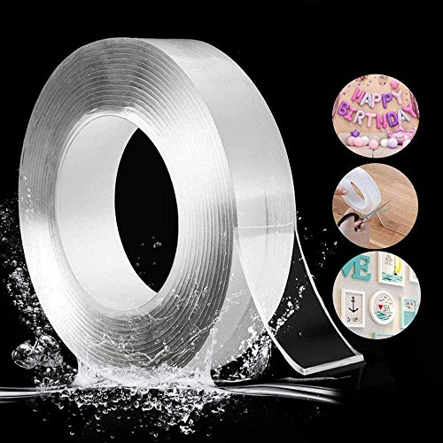 SELMEZ RC Enterprises Reusable and Washable Double Sided Adhesive Silicon Tape with Multi-Functional Anti-Slip Double Sided Sticky Strips, Gel Tape Roll Wall Stickers