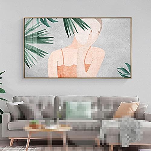 Gymqian Lienzo Arte de la Pared Carteles e Impresiones de Figuras Modernas Chicas Bonitas Hojas Verdes Imágenes para la Sala de Estar Dormitorio Pasillo Decoración 50x80cm Sin Marco