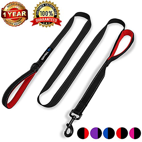Tifereth Heavy Duty Dog Leash Reflective Nylon Dog Leash 2 Handles Padded Traffic Handle for Extra Control 6ft Long Perfect for Medium to Large Dogs (Black)
