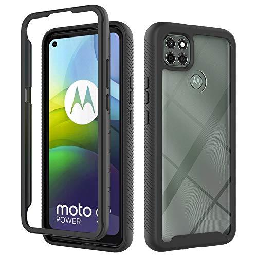 """i-Case Hybrid Case Schutzhülle Back Cover für Moto G9 Power 6.8\"""",Handyschale Kristall Klar Weich Hülle Case 360°Rugged schutzhülle Stoßfest Handyhülle für Motorola Moto G9 Power 6.8\""""-Schwarz"""