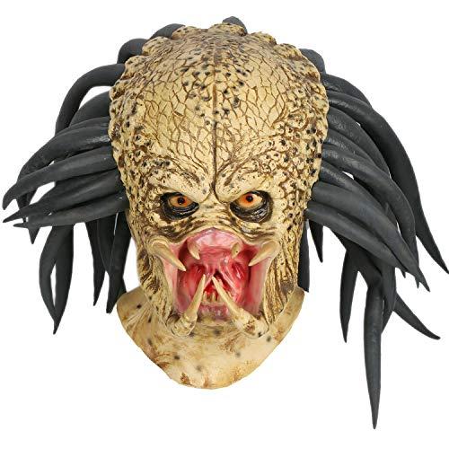 Mesky Máscara de Predator Aliens Mask de Terror Casco de Horror para Hombres Navidad Fiestas Halloween Helmet Adultos Accesorios Latéx Xenomorph