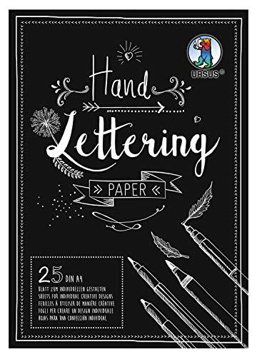 URSUS 24924690 Handlettering Paper, Block mit 25 Blatt Tonkarton 210 g/qm DIN A4, zum individuellen Gestalten, schwarz