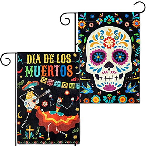 WATINC 2Pcs Day of the Dead Garden Flags Burlap Dia De Los Muertos House Flag Vertical Double Sided Sugar Skull Mexican Fiesta Festival Party Decorations Supplies for Yard Lawn Outside 12 x 18 Inch