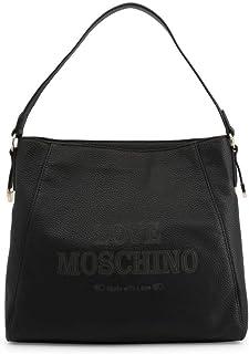 Love Moschino Borsa donna in ecopelle goffrata di colore nero borsa con chiusura con zip, tasche interne e manico singolo....