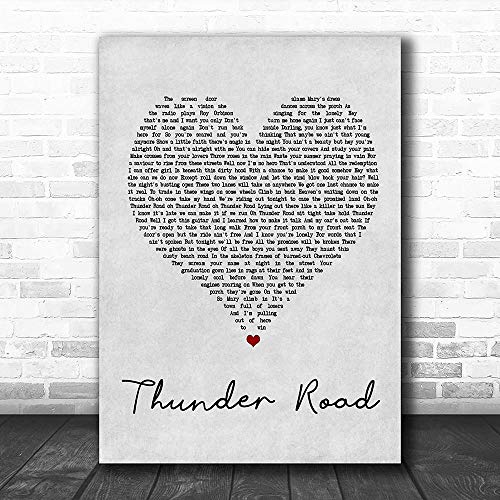 TOPBEE #Bruce #Springsteen #Thunder Road Grey Heart Song Lyric Music Lovers Poster Wall Art Gifts