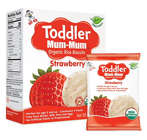 Toddler Mum-Mum Rice Biscuits, Organic Strawberry, Organic, Gluten Free, Allergen Free, Non-GMO, 2.12 Ounce,12 Count, Pack of 6