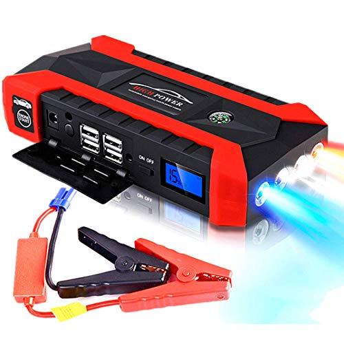 Surfiiy - Arrancador de emergencia para coche y moto, 898 mAh / 12 V 600 A LCD 4 USB portátil batería Car Jump Starter Booster Auto Power Bank, linterna LED, salida USB Quick Charge para Smartphone