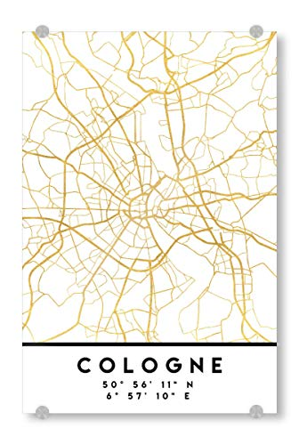 artboxONE Acrylglasbild 30x20 cm Städte Cologne Germany Street MAP Art - Bild Cologne Germany Koeln