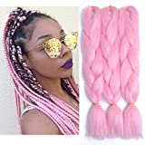 Pink Kanekalon Braiding Hair Extensions 24 Inches Jumbo Braids Hair 100g/pc Kanekalon Fiber for Twist Braiding Hair 3Pcs