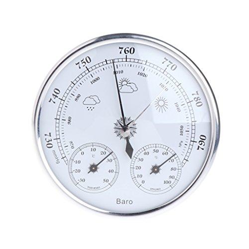 Angelliu - Termómetro de pared para interior o barómetro, higrómetro, termómetro de pared vintage para casa, oficina, jardín, garaje, invernadero