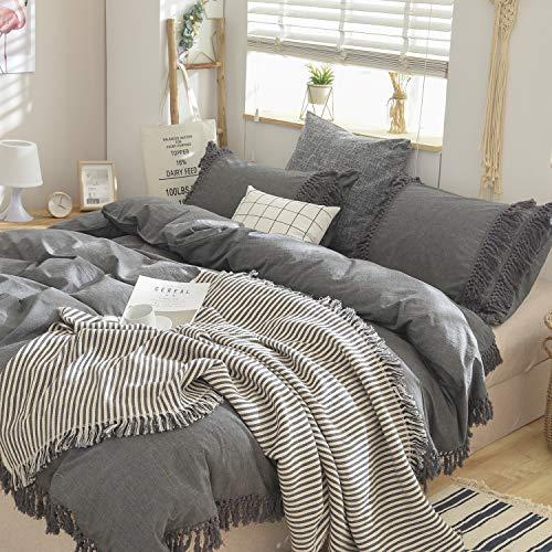 Softta Grey Bedding Queen Duvet Cover 3 Pcs Boho Bedding Ruffle Tassel Farmhouse Duvet Covers Fringed 100% Washed Cotton Bohemian Gray