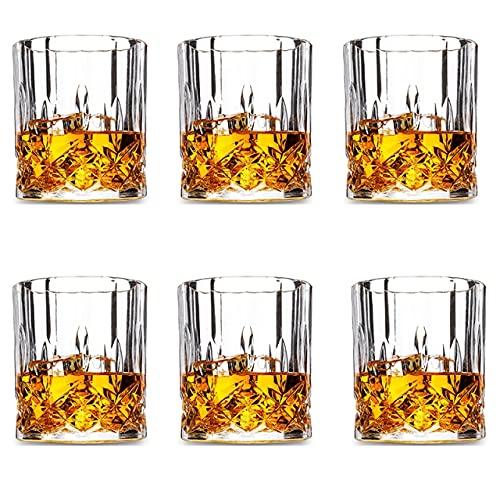 Vaso De Whisky De Estilo Rock De Diseño Clásico Sin Plomo, Vidrio Antiguo Para Whisky, Juego De 6-8.45 Oz