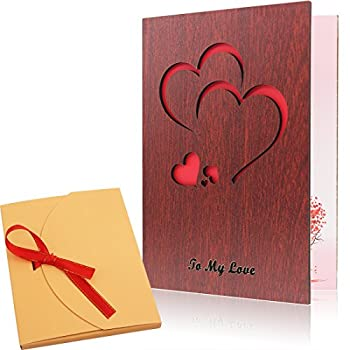 Creawoo Handmade Walnut Wood Love Greeting Card with Unique Gift Card Box The Best Birthday Valentine s Day Anniversary Gift Idea Card.