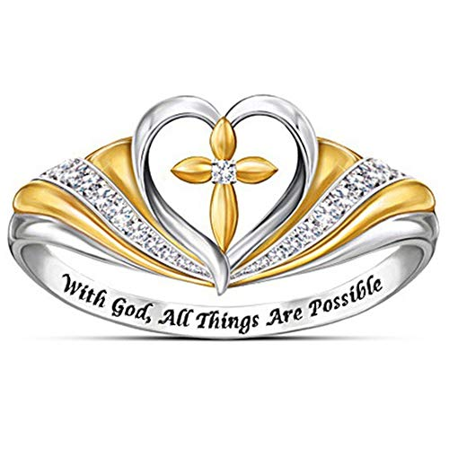 Jude Jewelers Silver Gold Two Tone Heart Shaped Christian Cross Prayer Religious Ring (Silver Gold, 7)