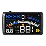 Heads Up Display,5.5' HD OBD II Car GPS HUD Head Up Speed Display Over Speed Warning,Fuel Consumption,Temperature