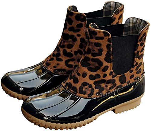 Kathemoi Womens Duck Boots Slip on Ankle Boots Waterproof Booties Mid Calf Leopard Snow Rain Boots