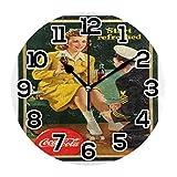 Coca Cola Reloj retro Decoración de Pared Acrílico Decorativo Redondo Funciona con Baterías Relojes de Pared para el Hogar Dormitorio Salón Decoración Silencioso No Ticking