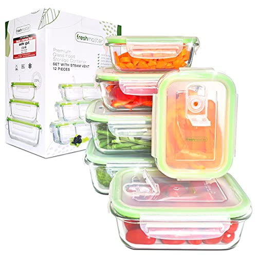 Fresh Master Frischhaltedose Glas Set - Testurteil: SEHR GUT - 100{1ad0a7150577a75601c0b52934d742b217183a2e01bed83410fb16a8c56df193} auslaufsichere + luftdichte Vorratsdosen mit Deckel I Vorratsdosen Glas Meal Prep Boxen Glas Aufbewahrungsbox (12 teilig)