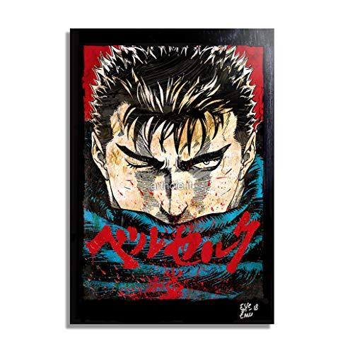 Gatsu/Guts de Berserk (Kentaro Miura) - Pintura Enmarcado Original, Imagen Pop-Art, Impresión Póster, Impresion en Lienzo, Cuadro, Cómics, Cartel de la Película, Anime, Manga