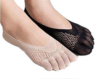 Eshining, Calcetines Humectantes en Gel Suavizan la Piel de los Pies con para dolor en el talón, regalo Ideal para corredores de Running y ciclismo, escalada, etc (Negro + Desnudo, Calcetines de cinco dedos)