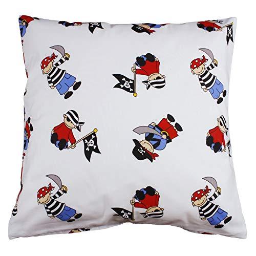 Hans-Textil-Shop Funda de cojín con diseño de piratas sobre algodón, color blanco, para niños, cojín decorativo, cojín para sofá, cojín infantil (30 x 30 cm)