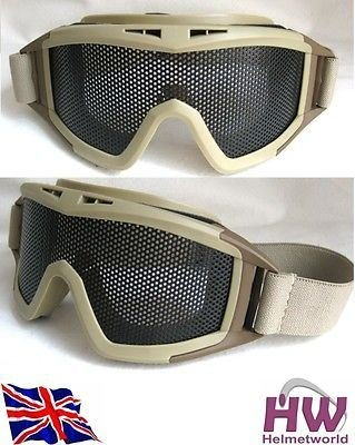 TOMTAC Airsoft Metal Large MESH Goggles Paintball Sand TAN DE Fast