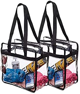 "Clear NFL Stadium Approved Tote Bag, by Bags for Less - for, Security Travel, Sports, Outdoor activities -12"" X 12"" X 6"" Clear vinyl body with Trim Shoulder straps and zippered top. (2 Pack)"