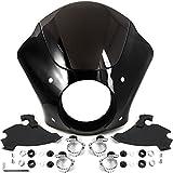 Krator NEW Black & Smoke Quarter Fairing Windshield Kit + Fork Mounting Hardware Compatible with Harley Davidson Street 750 XG750 2015-2018 (see notes)