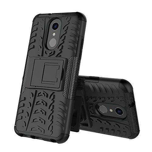 xinyunew LG Q7 Hülle, Handyhülle Hülle 360 Grad Ganzkörper Schutzhülle+Panzerglas Schutzfolie Schützend Handys Schut zhülle Tasche Cover Skin mit Ständer für LG Q7 Schwarz