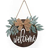 LOMOHOO Welcome Sign for Front Door,Farmhouse Porch Sign,Rustic Wooden Door Decorations Wreaths Front Door Decorations Hanging with Flowers and Bow (Coffe)