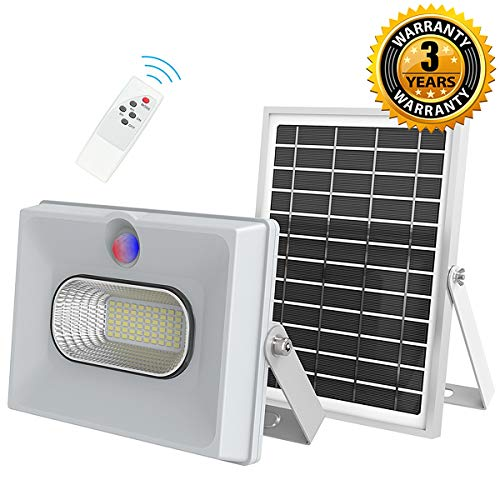 Solar Flood Lights with Motion Sensor and Remote Solar Lights Outdoor Dusk to Dawn 50W/4000LM Waterproof Led Security Light for Street,Yard,Garden,Pool,Driveway,Lawn,Flag Pole(Upgraded)
