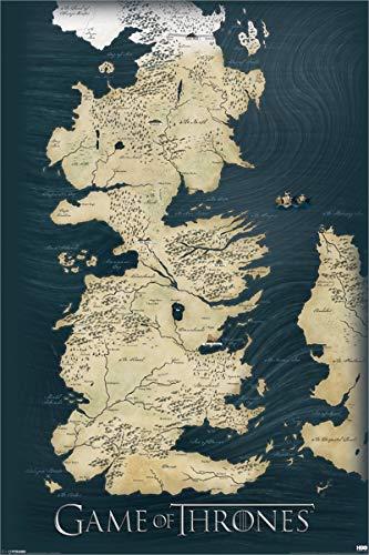 Game of Thrones : La Carte des Sept Royaumes de Westeros Poster Grand Format 91.5 x 61 cm Laminé