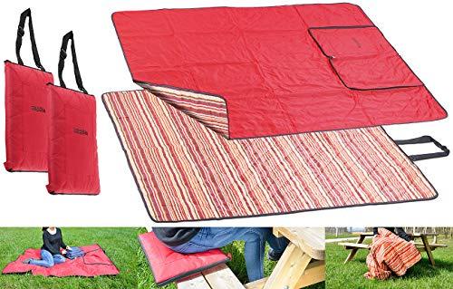 PEARL Picknick-Decken: 2er-Set 3in1-Picknickdecke, Sitzkissen & Zudecke, waschbar, 180x150 cm (Picknick-Decke, faltbar, waschbar)