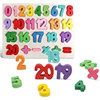 Kimuvin Wooden Number Puzzles, Preschool Educational Learning Board Toys
