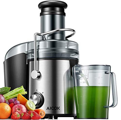 AICOK Licuadoras para Verduras y Frutas 800W Licuadoras para Zumos Centrífugo, 75mm Boca Ancha y Multi-Velocidades, Base Antideslizante, Extractor de Jugos Libre de BPA, Diseño Antigoteo