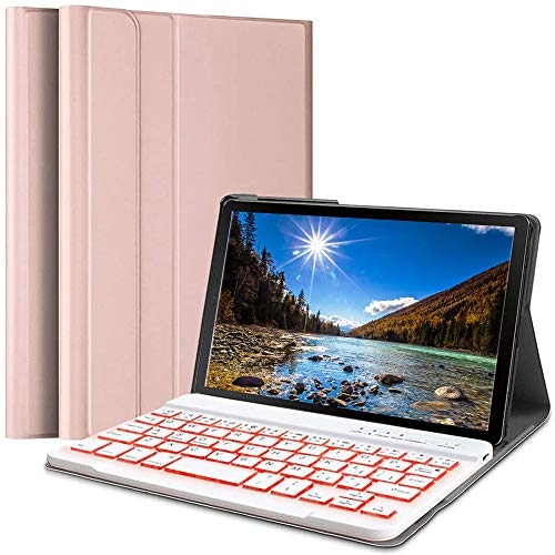 Wineecy Galaxy Tab A 8.4 2020 Keyboard Case SM-T307(Verizon/T-Mobile/Sprint/AT&T) Backlit, Wireless Detachable Keyboard with Protective Cover for Samsung Galaxy Tab A 8.4 inch 2020 SM-T307, Pink